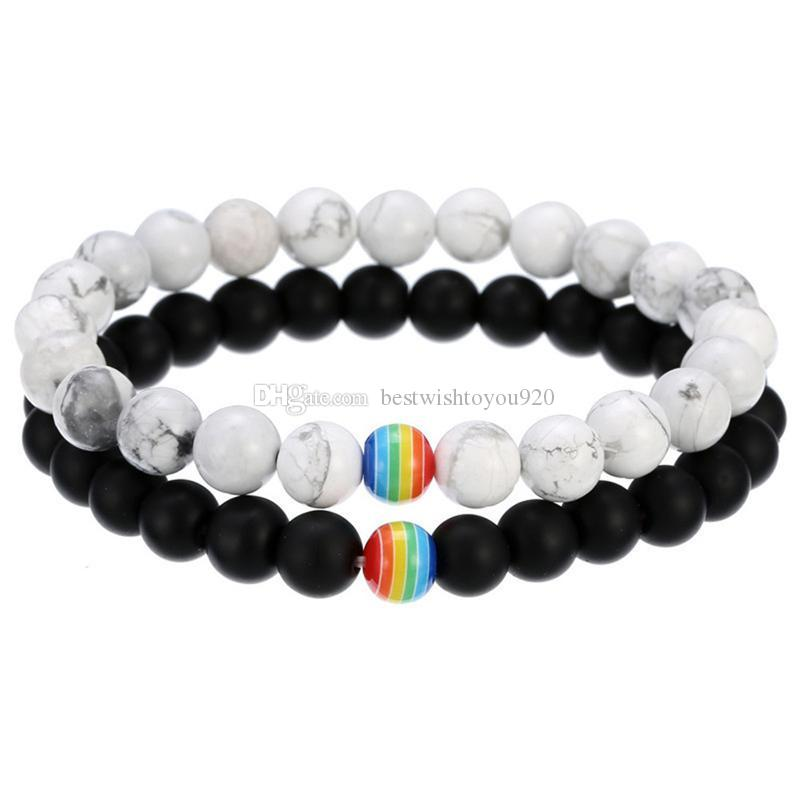 Rainbow Flag Sign Distance LGBT Pride Couple bracelet For women Men Gay Lesbian Black White beads chains charm Bangle Fashion Jewelry