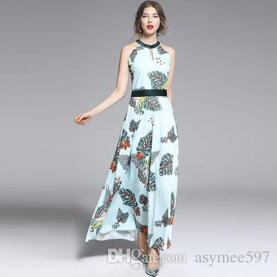 12161f7b2510f 2019 Fashion Elegant Women s Summer Dresses,Beauty Printing Beach Vacation  Dress of Lady,Halter Hollow Out Long Skirts Girl