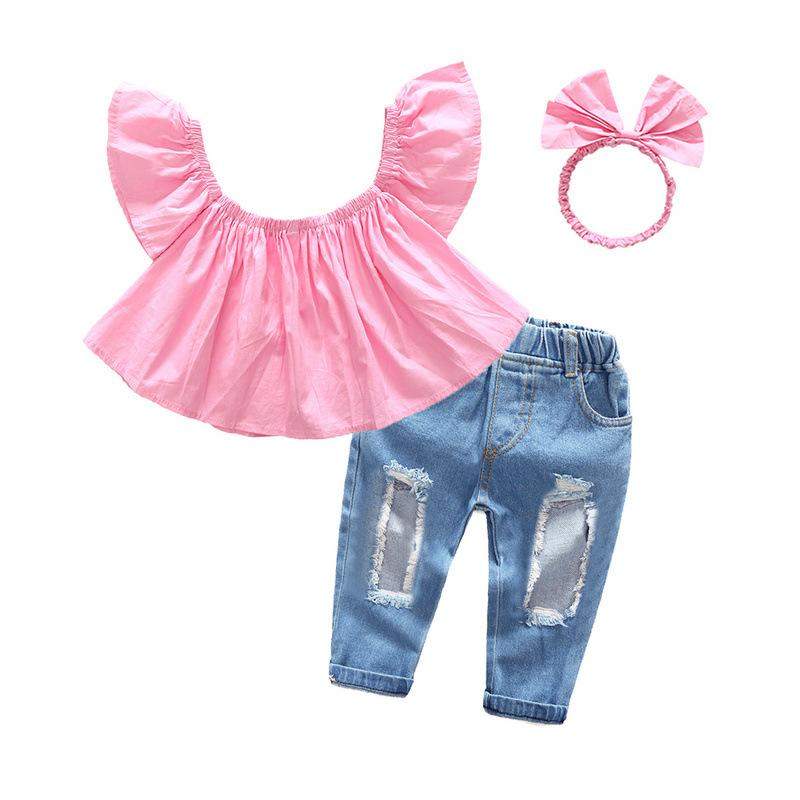 New Children Baby Girls Clothes Off shoulder Crop Tops + Hole Denim Pant Jean Headband 3PCS Toddler Kids Clothing Sets Girls