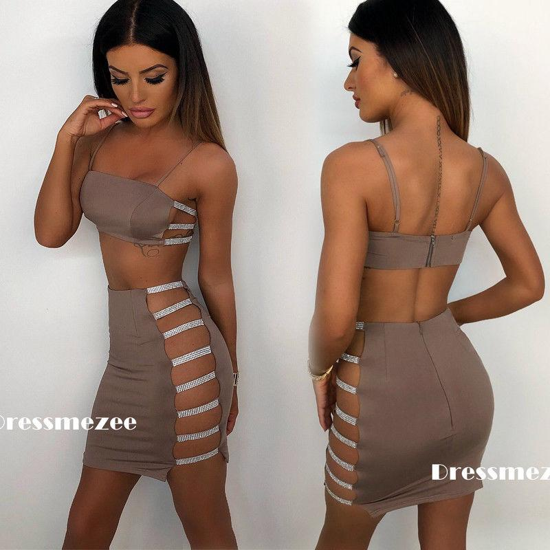 New 2018 Sexy Women's Bandage Bodycon Sleeveless Cut Out Party Cocktail Club Crop Top Mini Skirts Women Dresses Suits