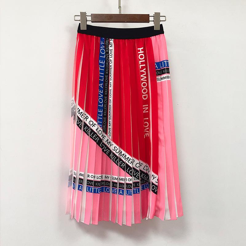 Spring and summer new half skirt letters pleated print color matching high  waist versatile skirt pleated female