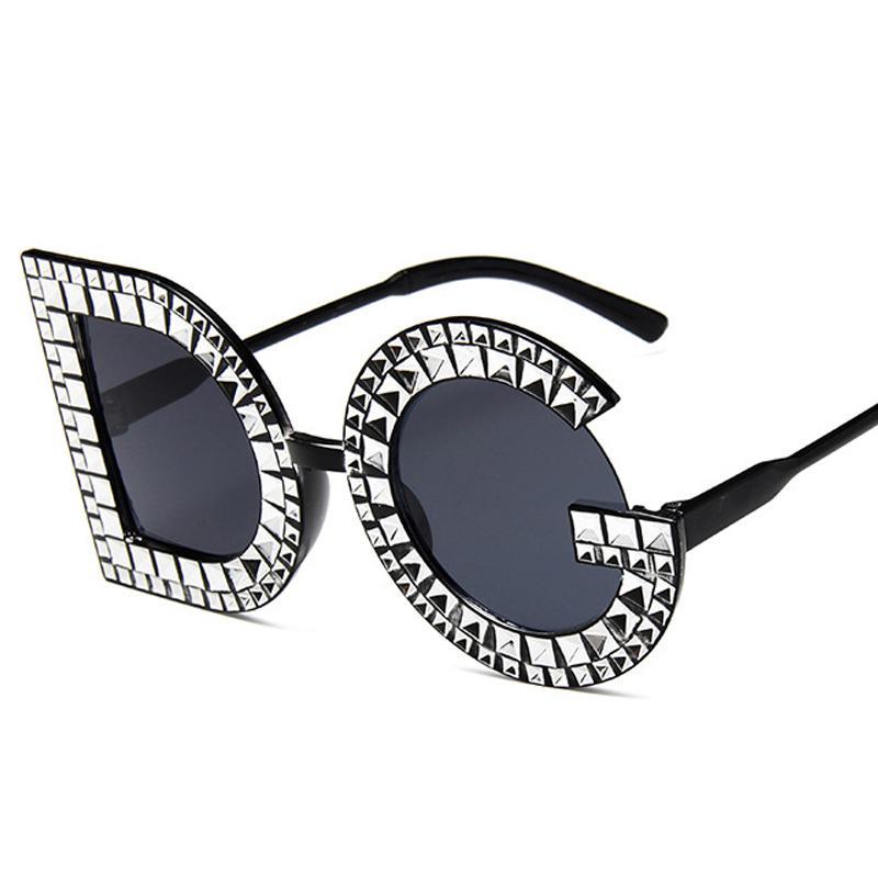 Compre 2019 Gafas De Sol Retro De Imitación De Diamante Mujer Mujer  Diseñador De La Marca Tan Pink Lens Vintage Gafas De Sol Mujer Gafas De Sol  UV400 A ... 5974038de878