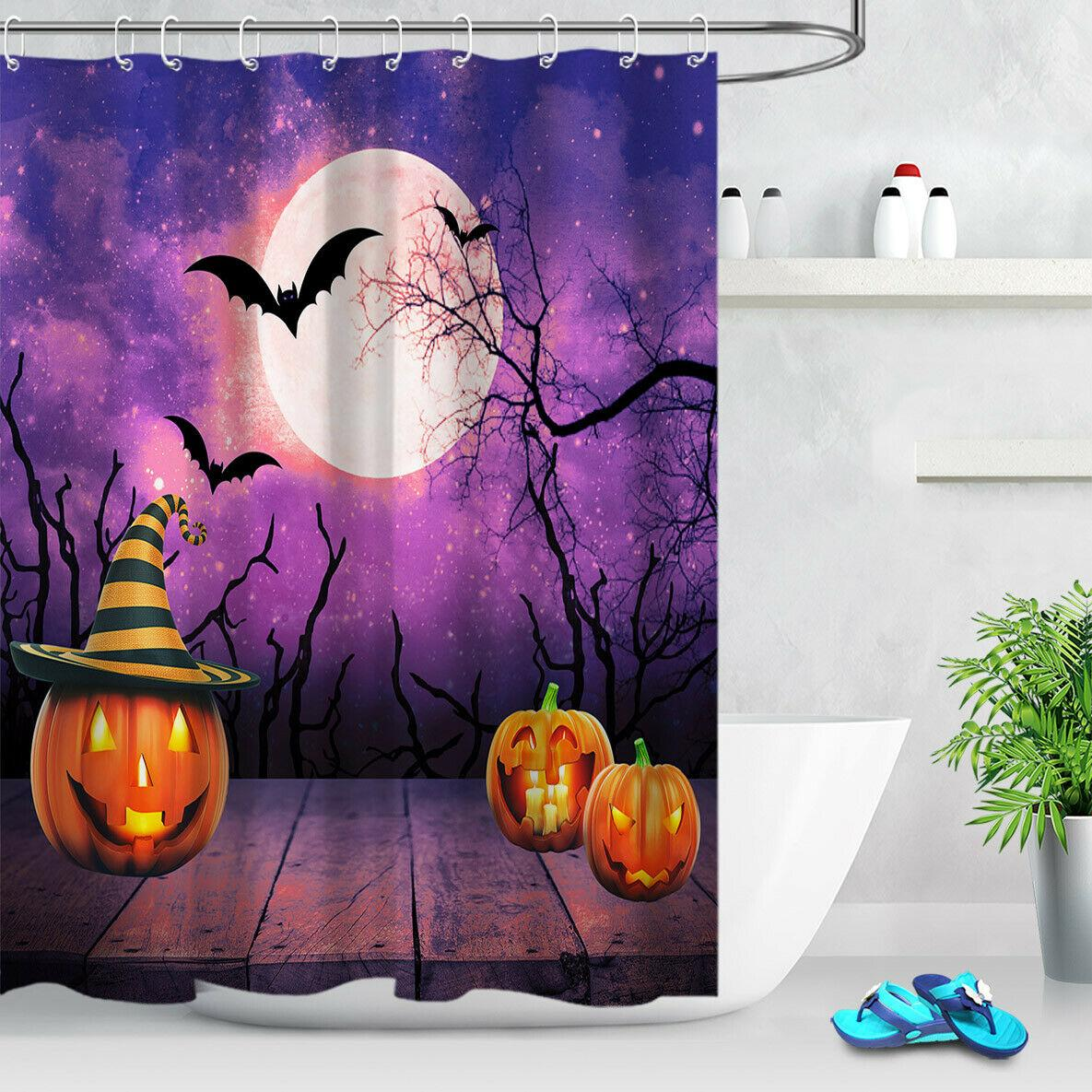 Halloween Purple Sky Pumpkin Bats Bathroom Shower Curtain Durable Fabric Mold Proof Bathroom Pendant Creative With 12 Hooks 180x180cm