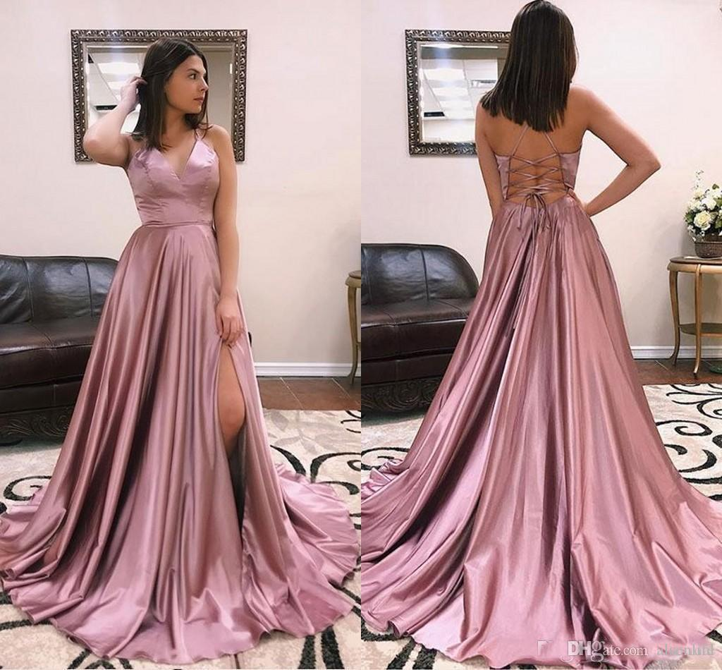3623f110e0c 2019 Spaghetti Straps A Line Prom Dresses Sexy Side Slit Backless Formal  Party Dresses With Sweep Train Evening Gowns Plus Size Elegant Prom Dresses  Uk ...
