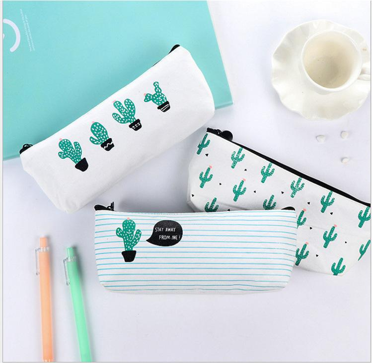 New office student zipper Pencil pen bags stationery cases organizer bag Gift storage pouch . Cactus coin purse girl makeup bags .A231