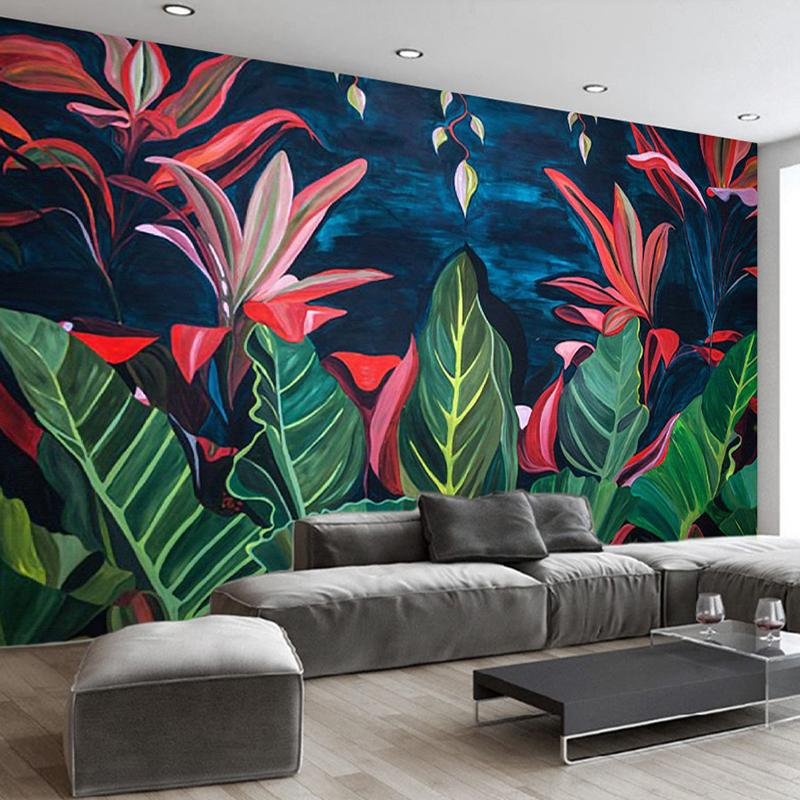 Custom Mural Wall Painting Hand Painted Rain Forest Banana Leaves Large Mural Wallpaper Living Room Bathroom Photo Wall Paper