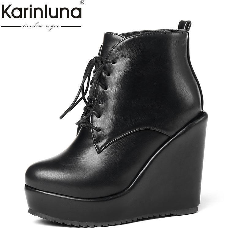 9ed317c74f2a Charm2019 KARINLUNA Dropship Large 33-43 Ankle Boots Shoes Platform Wedge  High Heels Add Fur Women Shoes Boots Online with  82.72 Pair on  Glassshoes s Store ...