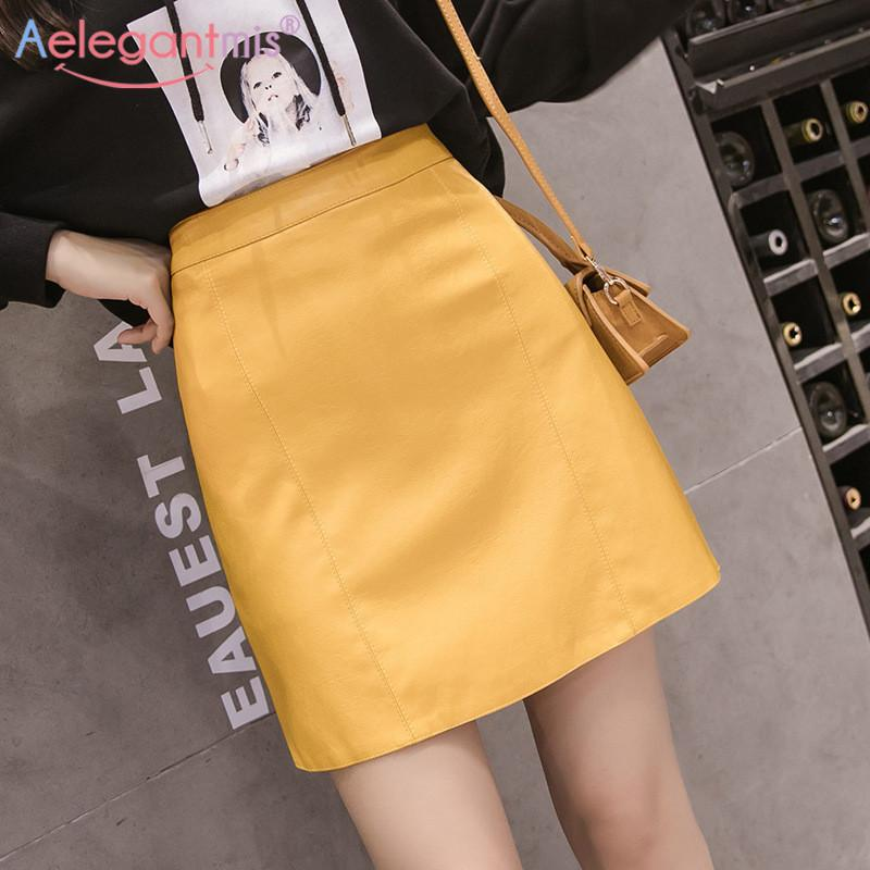 Aelegantmis Summer Fashion Elegant Women Pu Leather Skirt Casual High Waist Mini Skirt Ladies A-line Short Skirts Black Yellow T200106