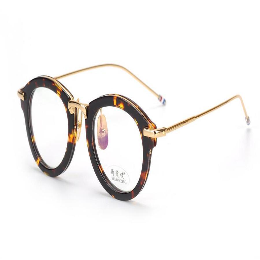 768d10356 Compre PLYMOTON Unisex Moda Acetato Aro Cheio Moldura Redonda Retro Óptica  Óculos De Armação Miopia Óculos De Leopardo Preto Goggle Óculos De  Marquesechriss ...