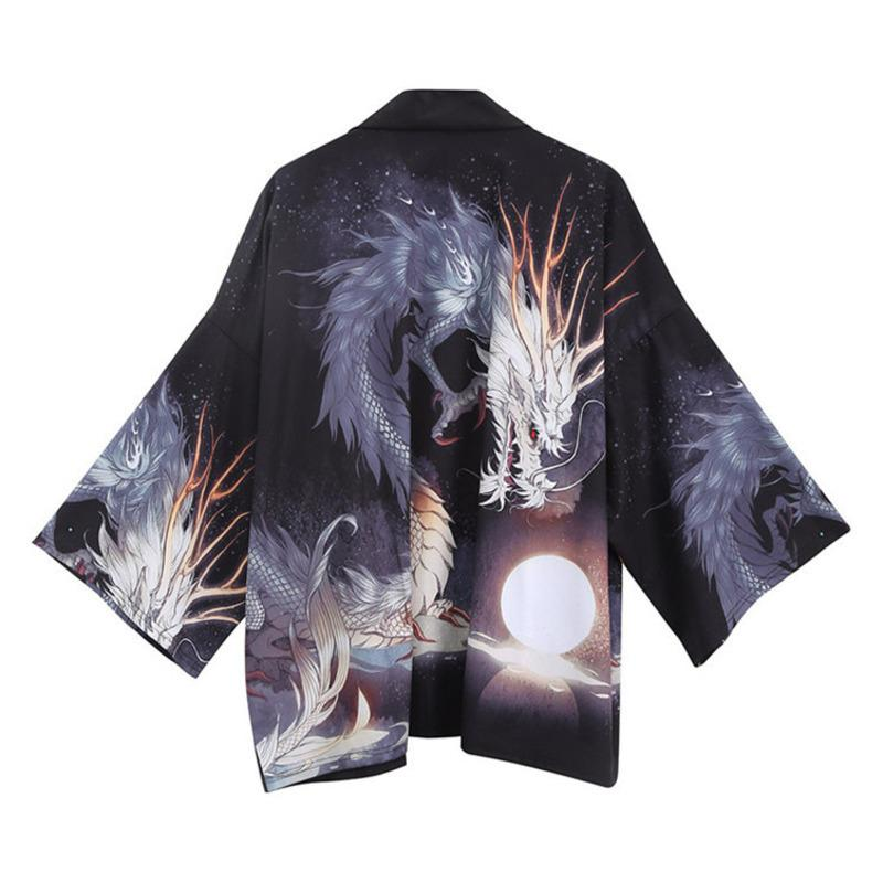 #0268 Dragon Printed Shirt Black Japanese Streetwear Kimono Men Vintage Open Stitch Casual Shirt For Man Loose Harajuku Summer