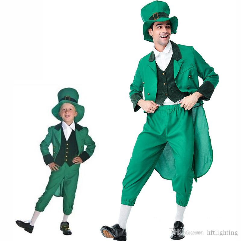 d3fb81a4cc51 St. Patrick's Day Irish Leprechaun Costumes Cosplay For Boy Man Party Fancy  Dress Parent Child Matching Outfits Festival Costume