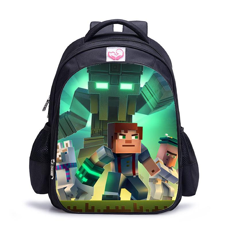 2017 Cute MineCraft Cartoon Backpack Boys Cartoon School Bags Hot . 7d4aa5ea4e6ae