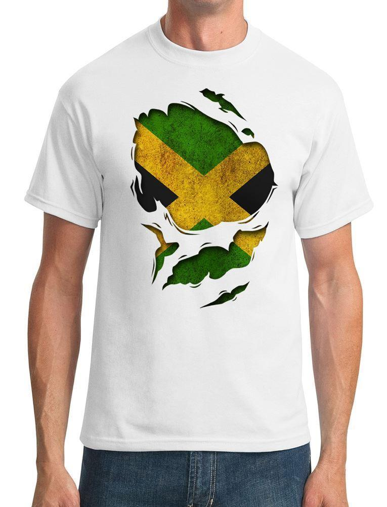 256dad245 Jamaica Jamaican Ripped Effect Under Shirt Mens T Shirt Personality 2018  Brand Summer Straight 100% Cotton Short Sleeve Tops Tee Coolest T Shirts  Online Buy ...