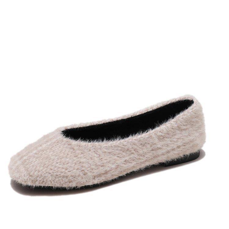 0bd60984da Compre Zapatos De Vestir De Diseñador Piel De Mujer Punta Cuadrada Mantener  Cálidos Mocasines 2019 Otoño Invierno Piel Señoras Ballet Multitud A  20.26  Del ...