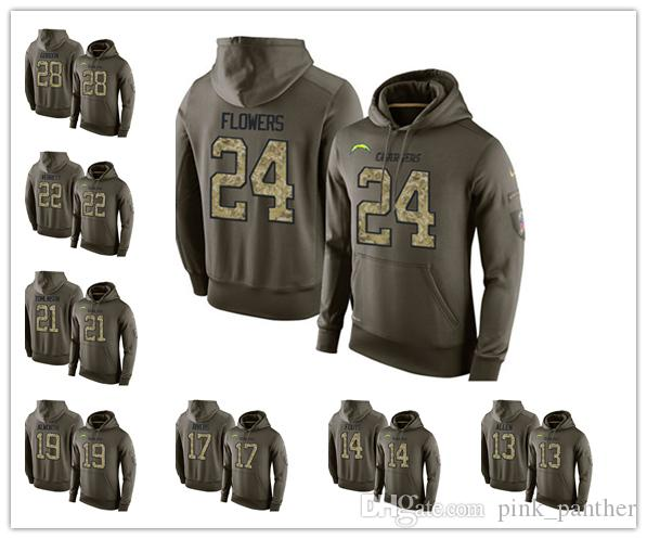 87d3ee626 San Diego Fleece Chargers Olive Salute To Service KO Performance Football  Hoodie 99 Joey Bosa 17 Rivers 33 Derwin James Really Cool T Shirts Online  Shopping ...