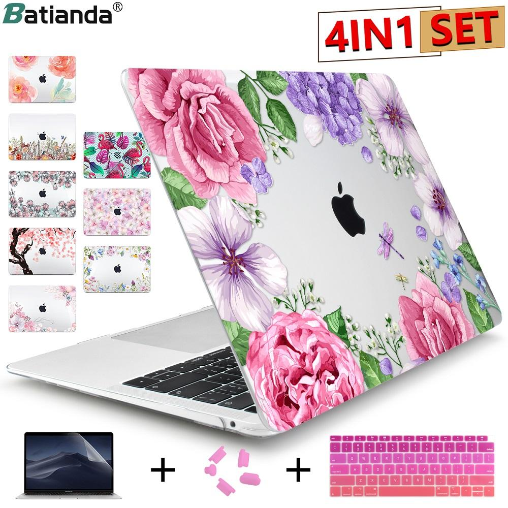 3c79a1ee7e82 Batianda Cute Flowers 4in1 Hard Case with Keyboard Cover Skin for MacBook  Air Pro Retina 11 12 13 15 Touch Bar A1989 A1708 A1990