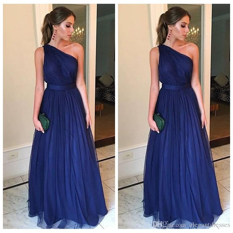 a537f8bffdd One Shoulder Tulle A Line Prom Dresses Floor Length 2019 Sexy Vestidos De  Soiree Custom Evening Party Gowns Long Custom Plus Size Cheap Missy Prom  Dresses ...
