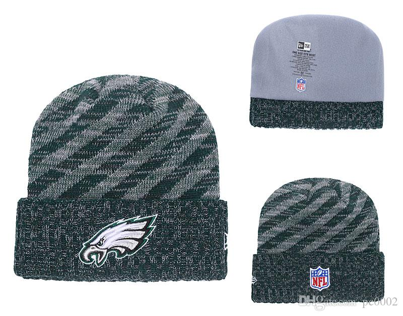 2e1e3c3e317804 Men's Philadelphia Eagles Green 2018 Sideline Cold Weather Official  Gray/Black Super Bowl LII Champions Parade Cuffed Pom Sport Knit Hat 02