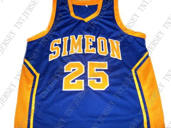 best sneakers f02e9 61525 wholesale Derrick Rose #25 Simeon High School New Basketball Jersey Blue  Stitched Custom any number name MEN WOMEN YOUTH BASKETBALL JERSEYS