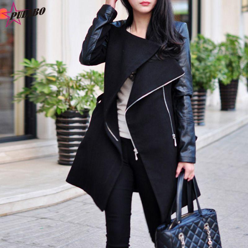 f2beb078ec0 2019 2018 Winter Women Plus Size Long Wool Blends Coat Zipper Long Sleeve  Faux Leather Sleeve Patchwork Jacket Pu Leather Windbreaker From Primali