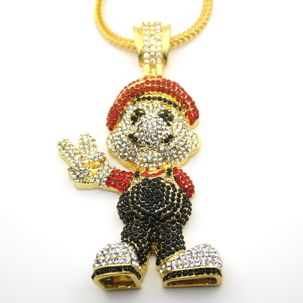 Very Large Size 36inch Franco Chain Cartoon Game Pendant Hip Hop Necklace Jewelry Bling Bling Iced Out N621 J190702