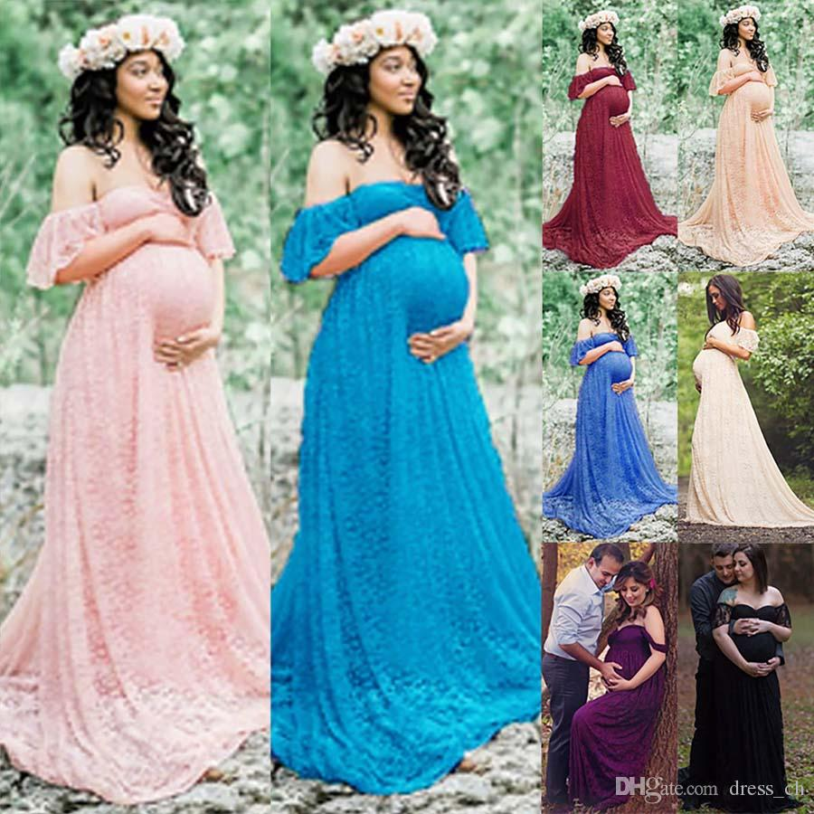 b279c65ca Womens Lace Maternity Dress Maxi Fancy Long Maxi Gown Pregnancy Photography  Prop UK 2019 From Dress_ch, GBP £14.43 | DHgate UK