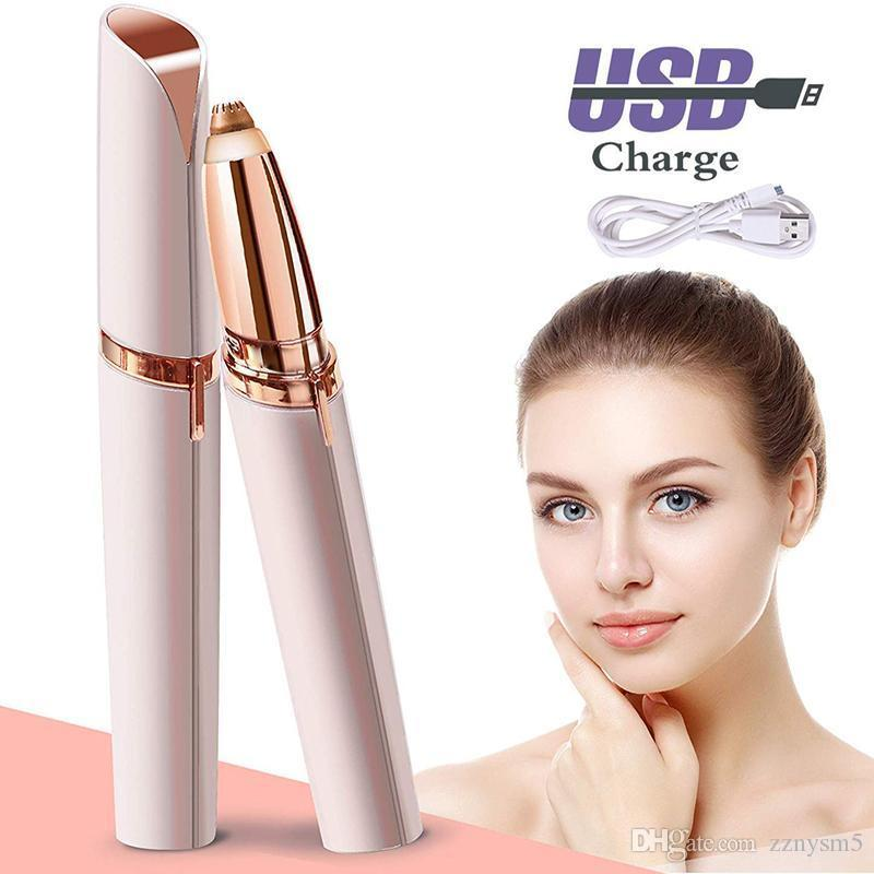 Electric Eyebrow Hair Trimmer Women Painless Portable Precision Brows Hair Remover Lipstick Shape Hair Razor USB Recharge