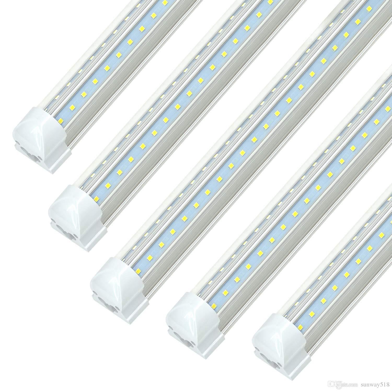 8ft led shop light fixture 72w 7200lm 5000k white dual row v shapet8 integrated tube strip cooler lights clearlinkable 25p