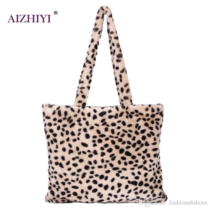 fac39eb302 Women Plush Leopard Print Shoulder Desiger Bag Faux Fur Female Tote Gilrs  Handbag Top Handle Bags Vinter Bags For Women 2018  34450 Pink Handbags  Branded ...