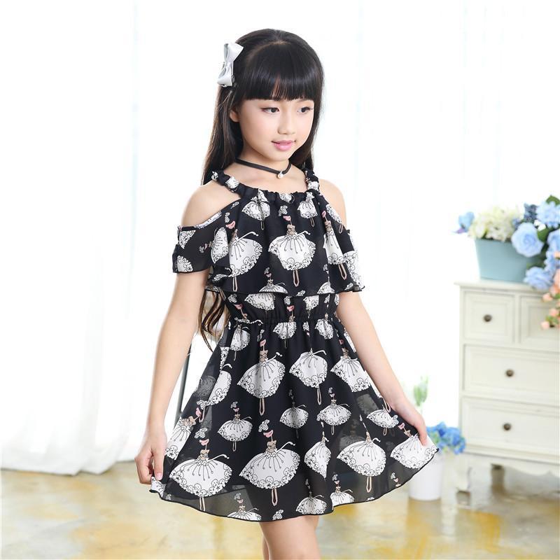145aeaec1 Ropa para niños 2019 verano nuevo vestido de tirantes de gasa 3 4 5 6 7 8 9  10 11 12 años de edad ropa de niña vestido de las niñas