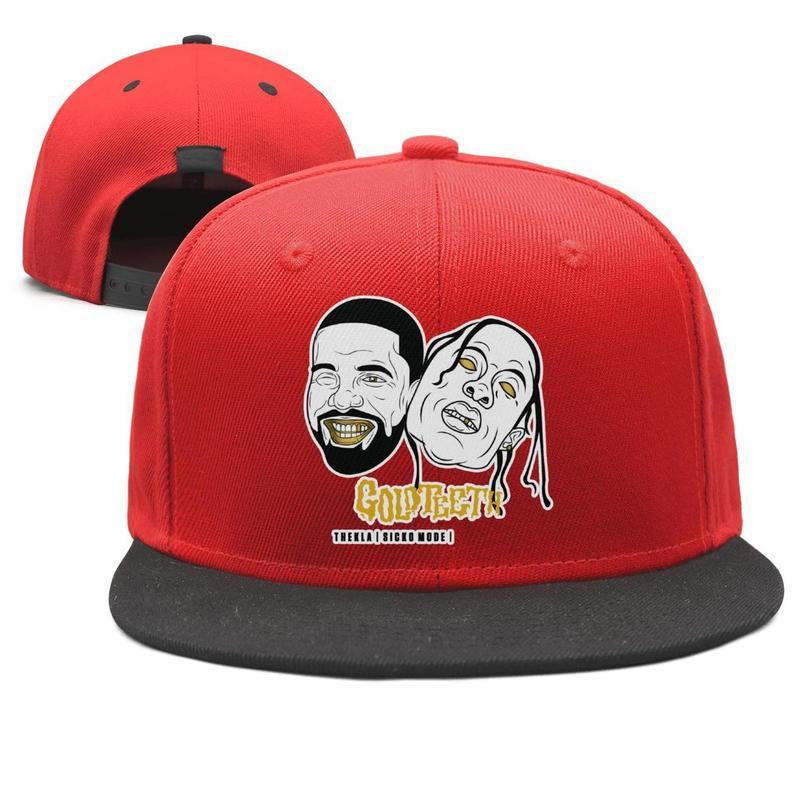9b04927e5504d8 Travis Scott Sicko Mode Gold Teeth Design Snapback Flat Bill Brim ...