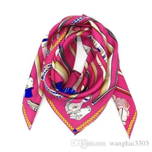 b53d3331 Diseño de marca bufanda cuadrada de las mujeres 100% material de seda buena  calidad imprimir la bandera patrón tamaño 90 cm - 90 cm