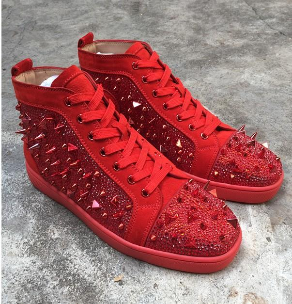 Nouveau Mens Femmes Rouge En Daim En Cuir Patchwork HighRed Bo Top Baskets Ttom, Brand Design Golden Spikes Toe Casual Chaussures 36-46 MN061