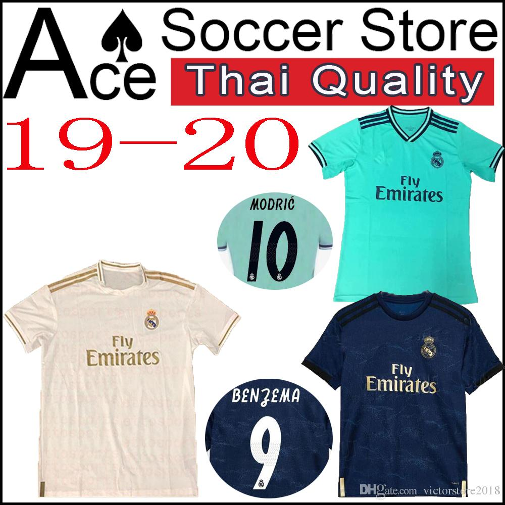 a4697acad 2019 New Real Madrid 19 20 Jersey Home Away Third Soccer MARIANO 22 ISCO 11  BALE 10 MODRIC 8 KROOS BENZEMA Shirt 2019 2020 Gray Blue Green From ...