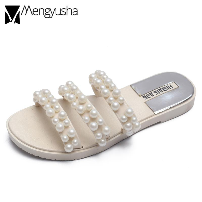 string bead beach sandals women big pearl studs gladiator sandals lady beading flip flops female narrow band flat with