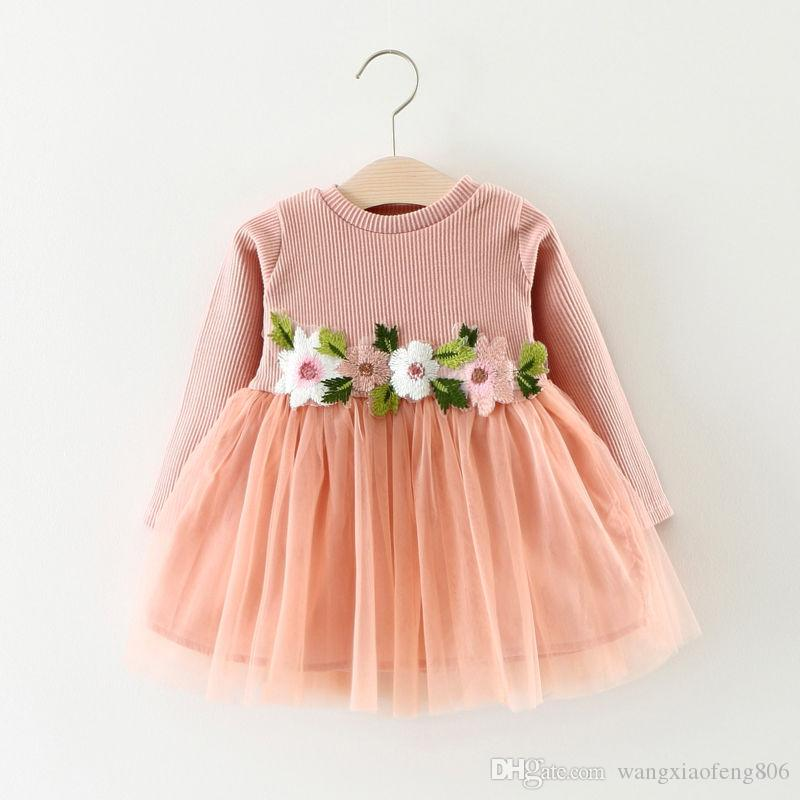 autumn new floral Princess kid baby girl dress Toddler Baby Girls Long Sleeve lace Flower Dress wedding Party Tulle Dresses