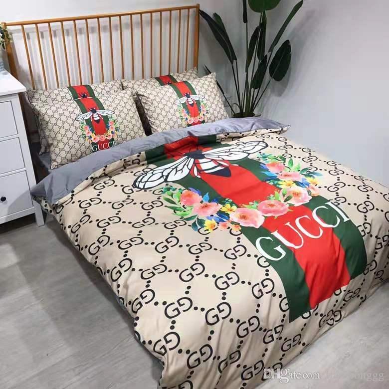Brand Design Letter G Little Bees Bedding Set Bed Sheets Bed Comforters Set Queen King Sizze Bedding Duvet Cover Bed Sheet