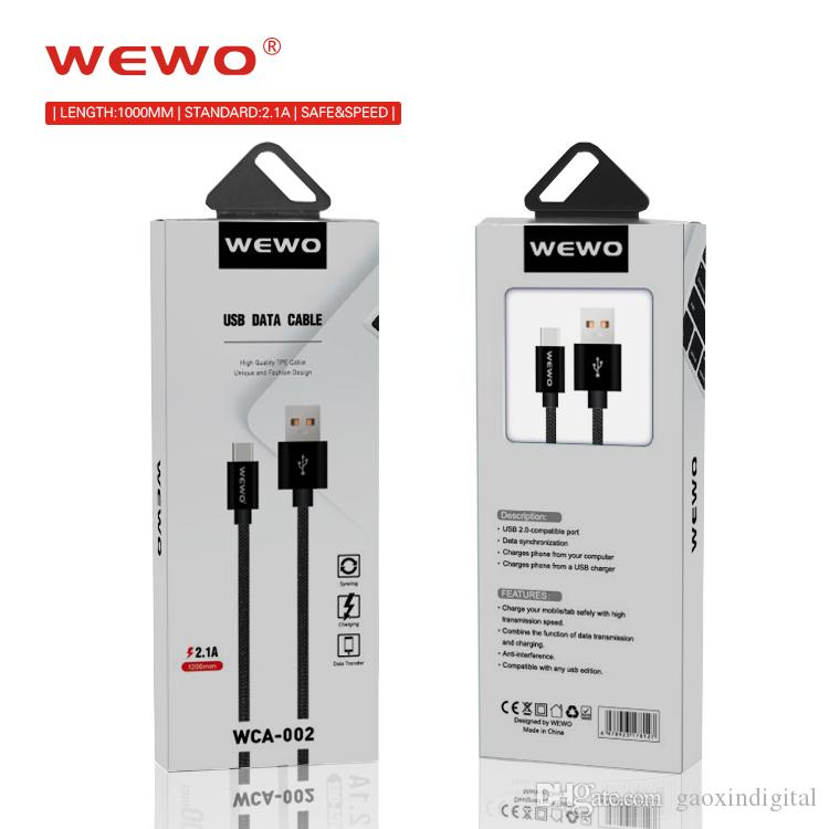 5pcs packaging WEWO Charger Cable For Iphone X 2.1A Nylon Braided phone chargers cables for samsung Huawei P20 cell phones Micro-usb Type-C