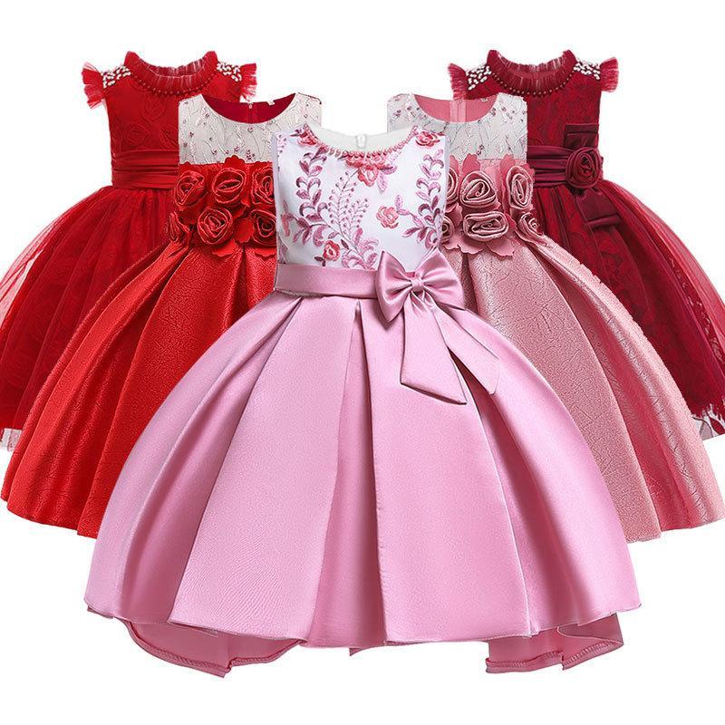 49f5f7381 Chica Princesa Fiesta Niños Boda Cumpleaños Elegante Vestidos de Flores  Vestido de Arco de Bebé Bebé 3-10 años Niños Tutu Ropa Q190604