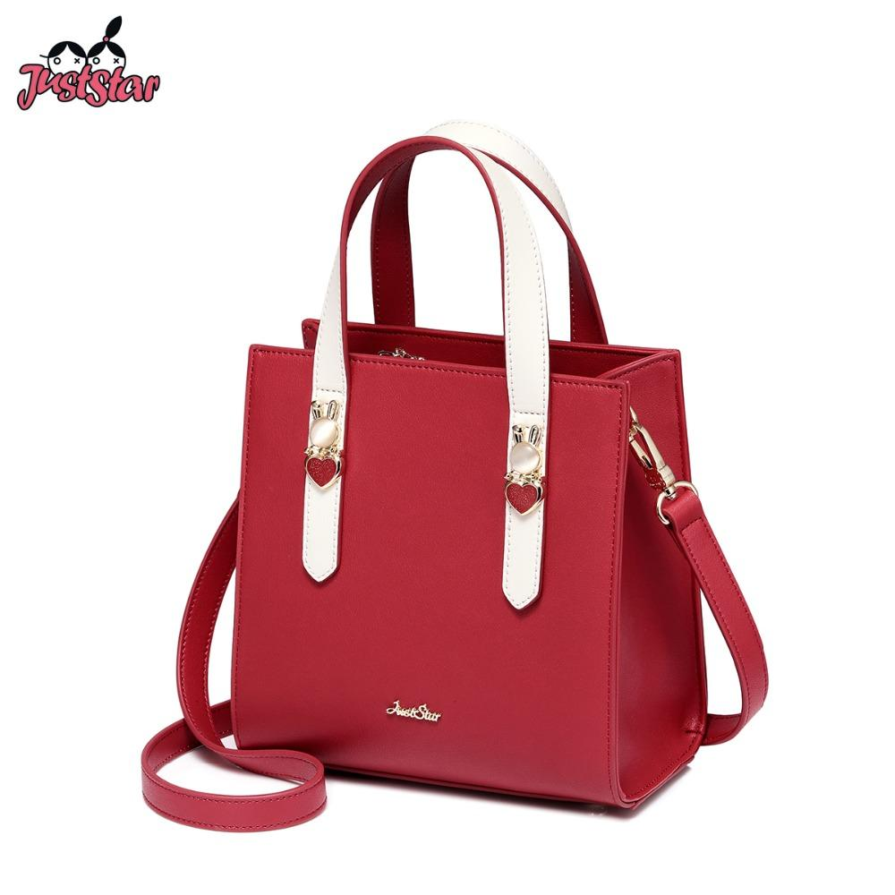 7b75dcaafcc JUST STAR Women s PU Leather Handbags Ladies Fashion Rabbit Shoulder Tote  Purse Female Elegant Red Panelled Messenger Bag