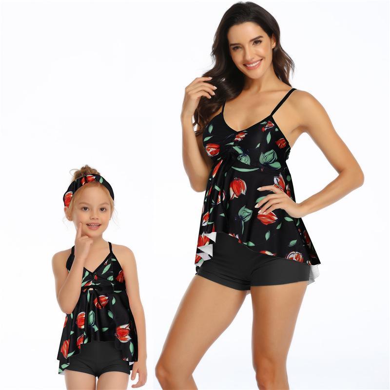 Hirigin familia a juego del traje de baño 2020 de Nueva madre y yo Verano Tankini 2 Piezas Traje de baño de la playa del juego de natación del desgaste de baño