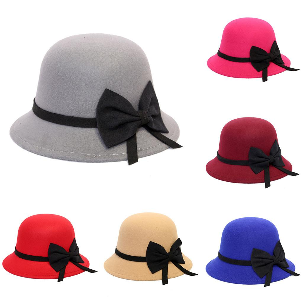 ISHOWTIENDA 2019 Spring Fashion Vintage Women Ladies Wool Fedora Hat ... 41e65532cb00