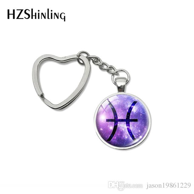 Fashion 12 Zodiac Aries Pisces Leo Signs Glass Cabochon Car Bag Holder Accessories Key Chains Gifts for Women Jewelry