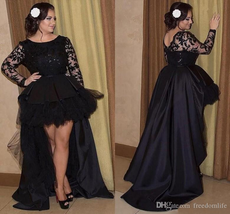 6779a2f5aca New Arrival Black Prom Dresses Long Sleeves Lace Formal Holiday Wear Prom Party  Gown Custom Made Plus Size High Low Evening Dress Short Yellow Prom Dresses  ...