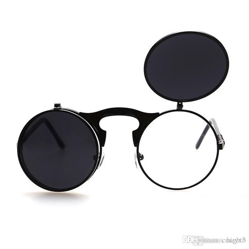2a2b7fda41b Flip Up Steampunk Sunglasses Men Round Vintage Mens Sunglass Brand Designer  Fashion Glasses Sunglasses Brands Best Sunglasses From Hight3