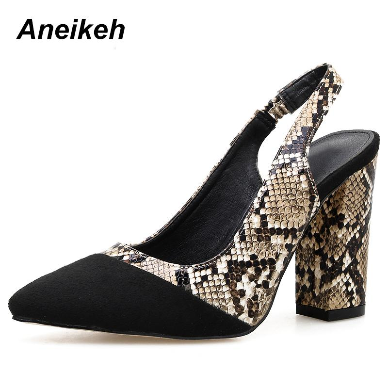 Dress Aneikeh 2019 Flock Pumps Women Pointed Toe Buckle Gladiator Square High Heels Fashion Mature Dance Serpentine Black Size 35-40