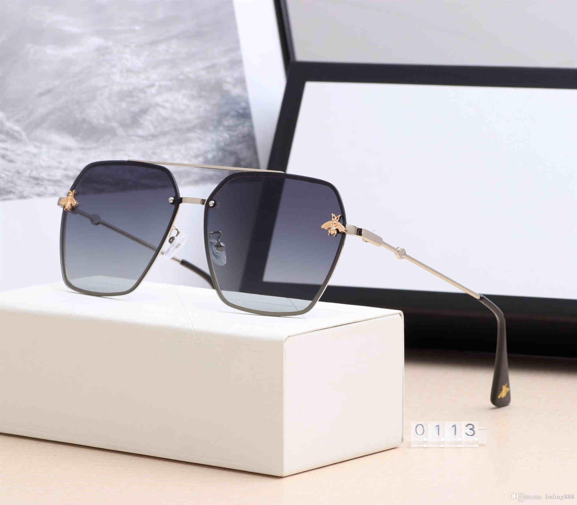 83233abc3 Compre Logotipo Quadrado Em Óculos De Sol De Marca Designer De Luxo Dos  Homens Caixa De Cinto Novinho Em Preto E Ouro Brilhante Para Luxurys Moda  Feminina ...