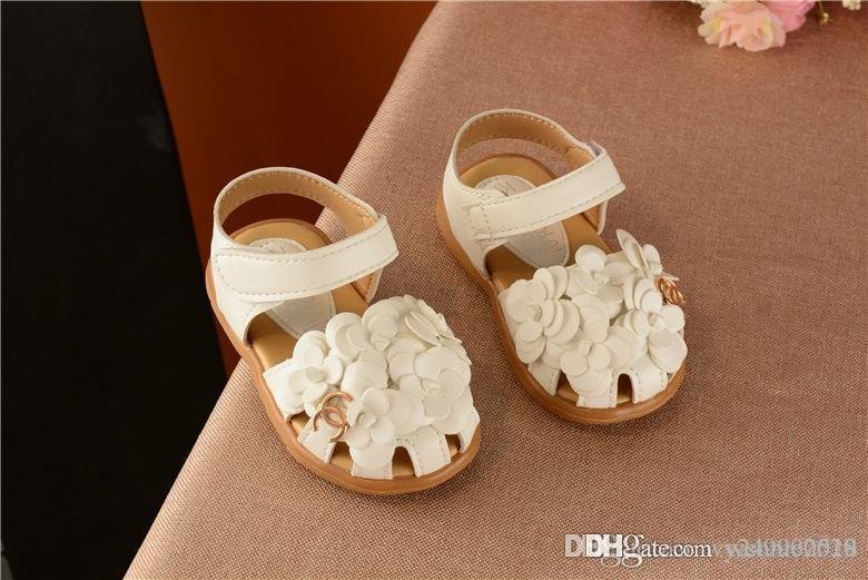 New Girl Toe Sandals Sandals Korean Soft Flowers Child Baby Toddler Shoes Princess Shoes size 21-30