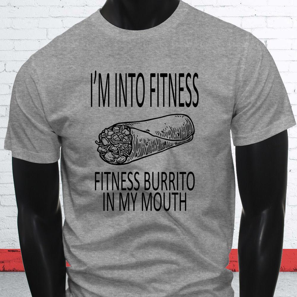 e6139f1f256 FITNESS BURRITO BLACK GYM SARCASM MEXICAN HUMOR Mens Gray T-Shirt ...