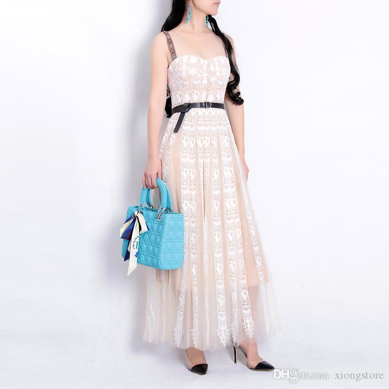 bd6f59e1ef6c79 2019 Pink Runway Designer Embroidered Lace Patchwork Mesh Dress ...